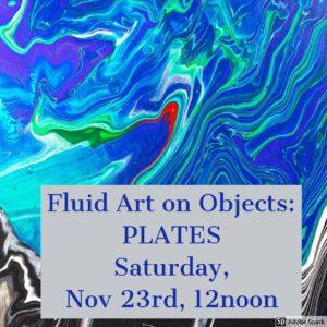 Fluid Art on Objects: Plates @ Huntsville Art League, Studio 2009